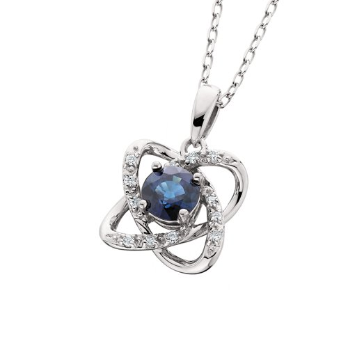 10K White Gold Blue Sapphire and Diamond Necklace