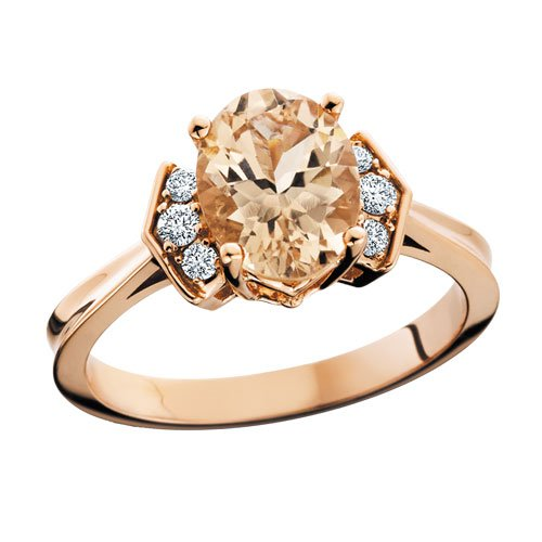 10K Rose Gold Morganite and Diamond Ring