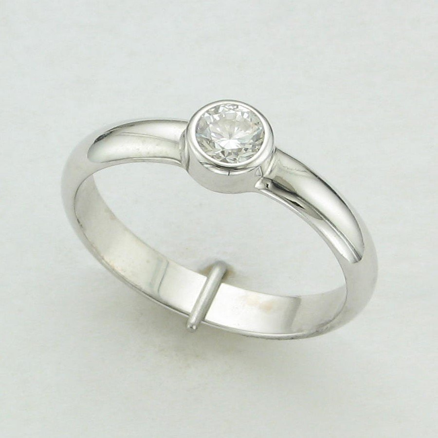 14K White Gold Round Bezel Set Solitaire Engagement Ring