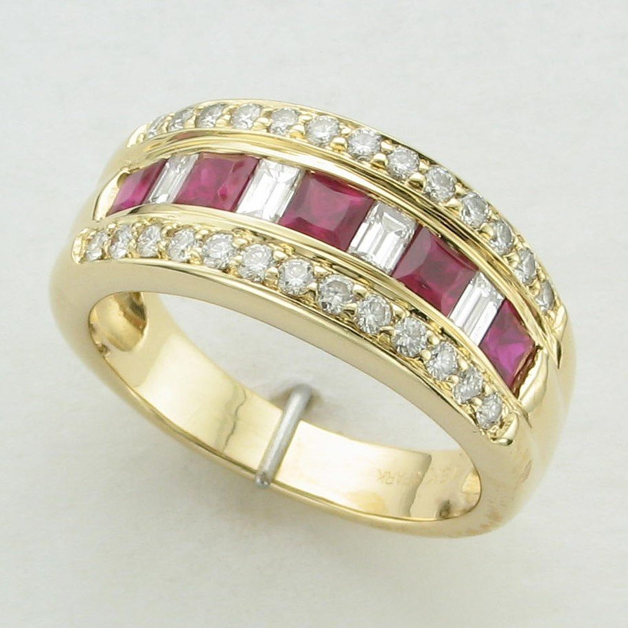 18K Yellow Gold Princess Ruby and Diamond Band