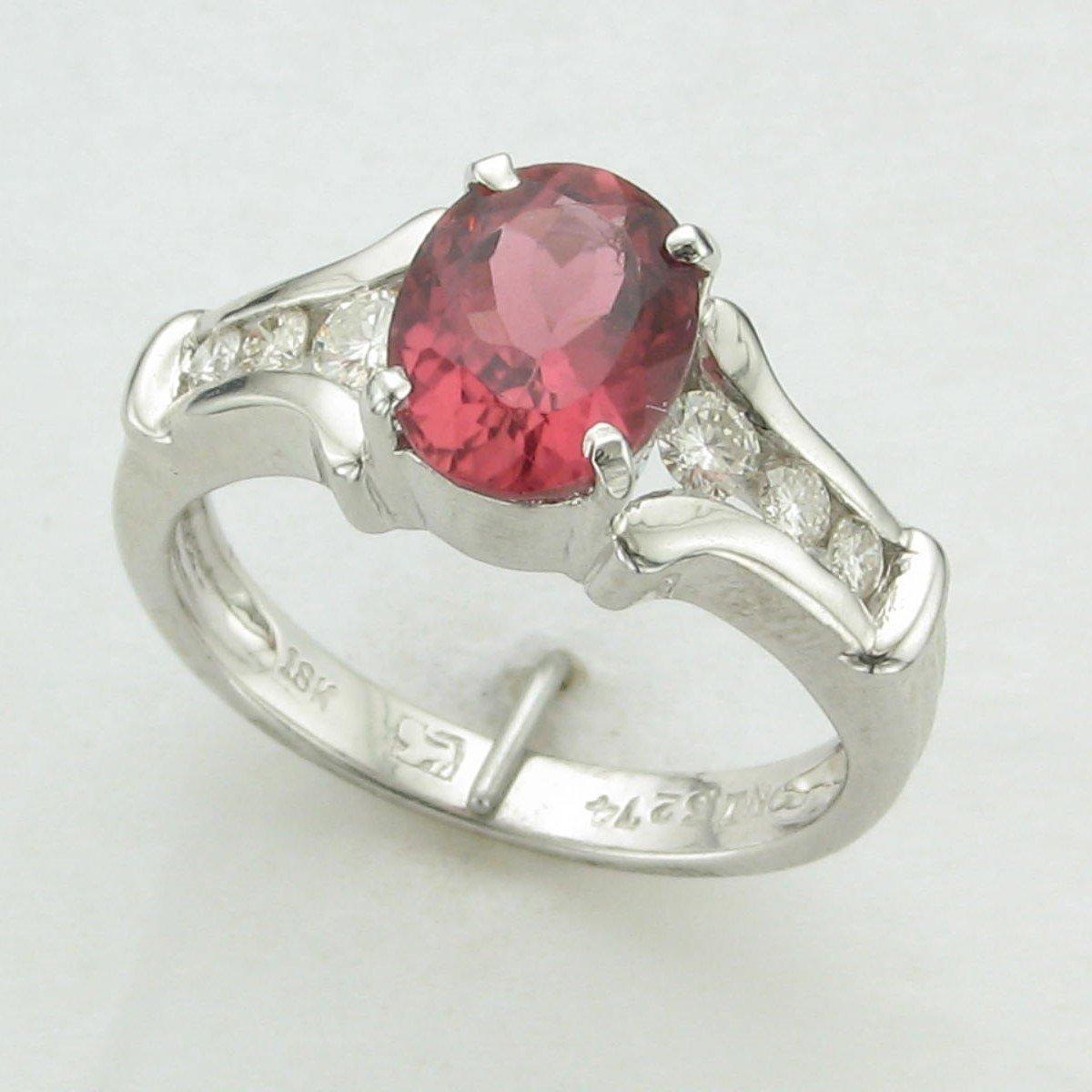18K White Gold Designer Pink Tourmaline and Diamond Ring