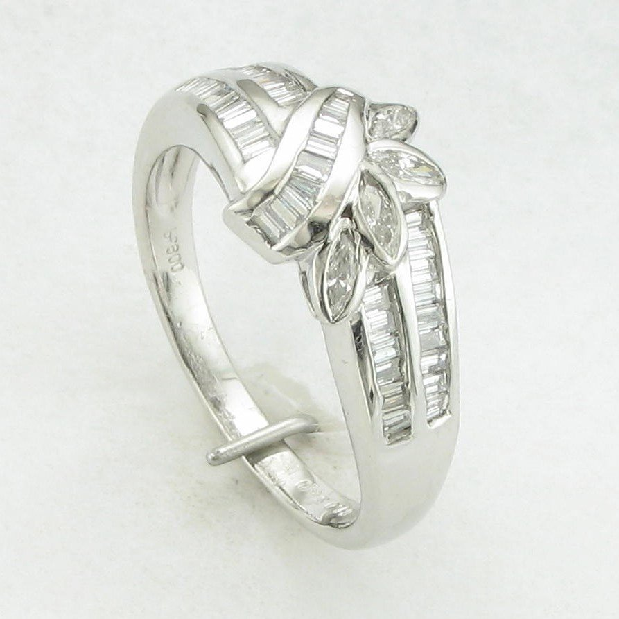 Platinum Designer Baguette and Marquise Diamond Ring