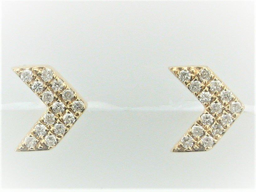 Arrow Point Diamond Earrings set in 14 Karat Yellow Gold
