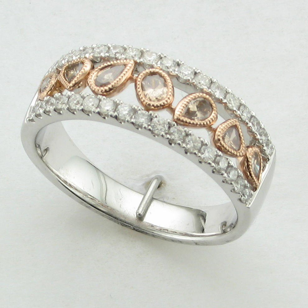 14K Two-Tone Rose and White Gold Chocolate Diamond Band