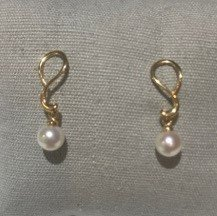 14K Yellow Gold Dangle Pearl Post Earrings