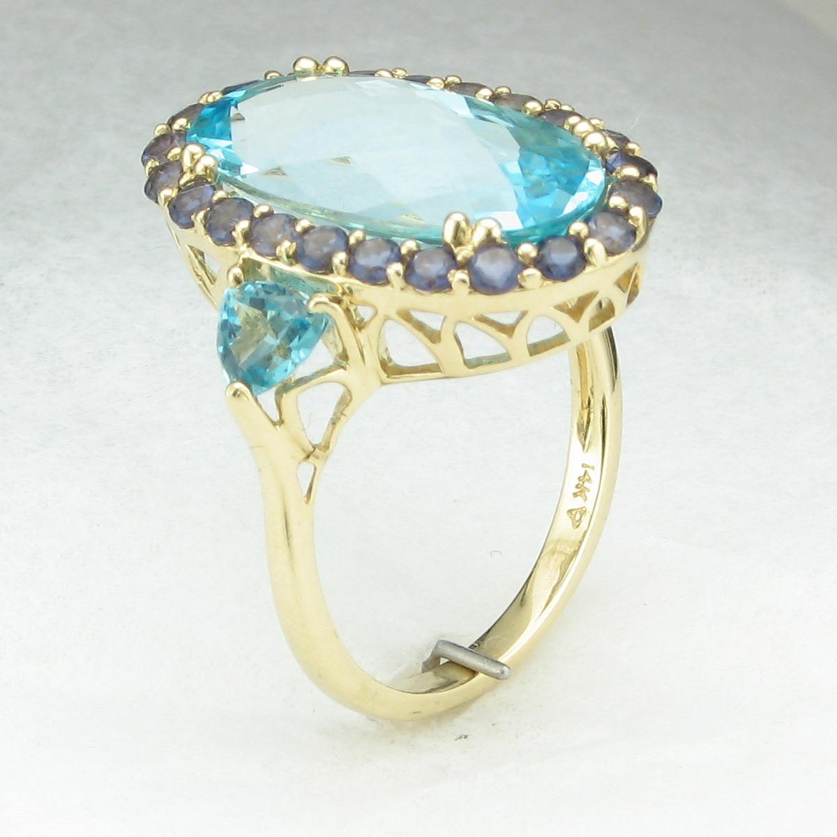 6.14ct Sky Blue Topaz and Iolite Halo Ring set in 14K Yellow Gold