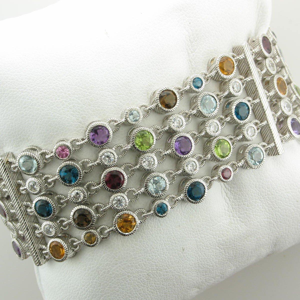 Sterling Silver Designer Multi-Gemstone Five-Strand Judith Ripka Bracelet