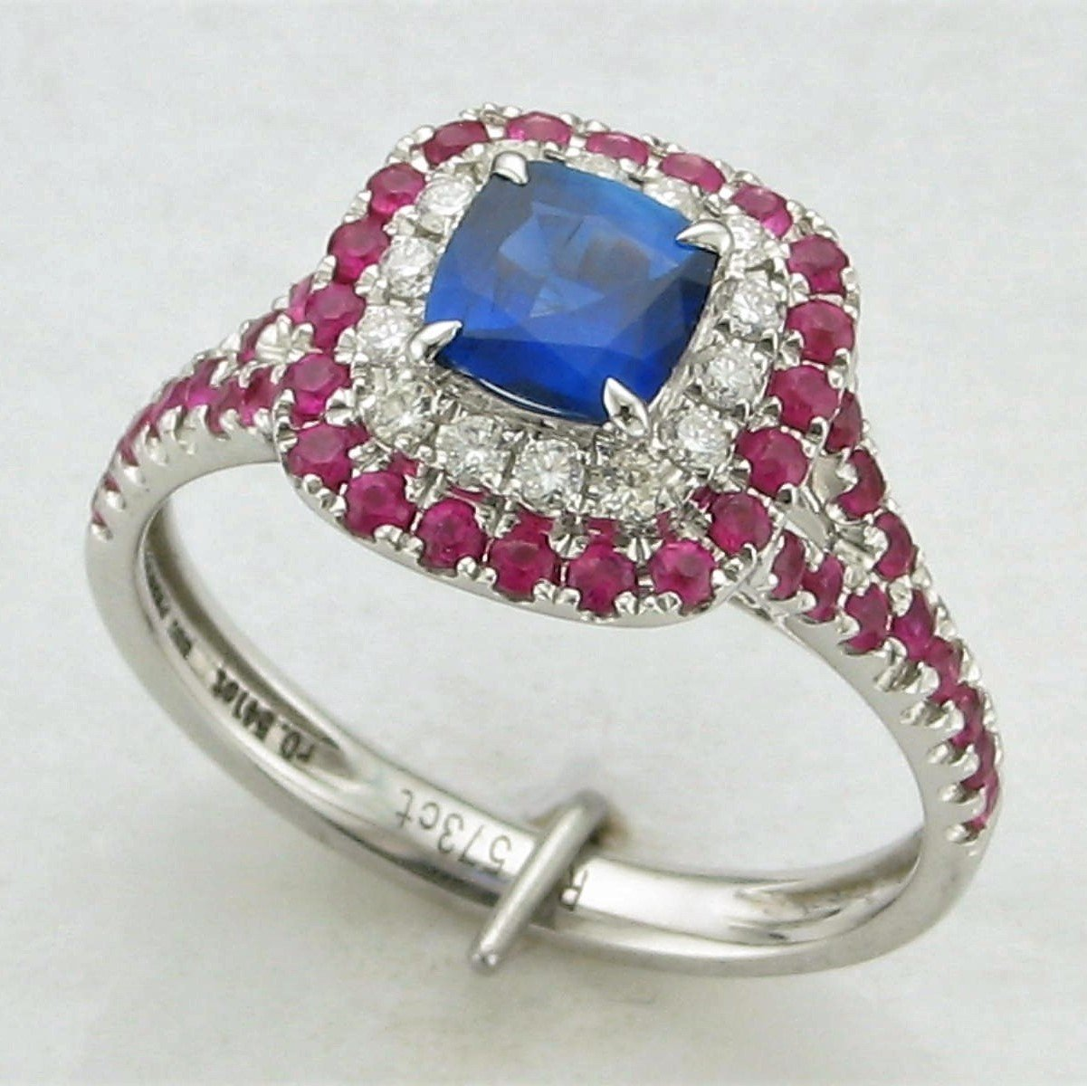 18K White Gold Blue Sapphire with Diamond and Pink Sapphire Halos Ring