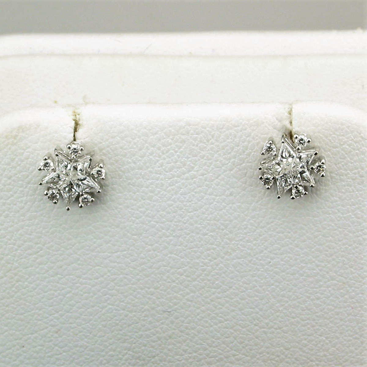 14K Two Tone Baguette and Round Snowflake Diamond Stud Earrings