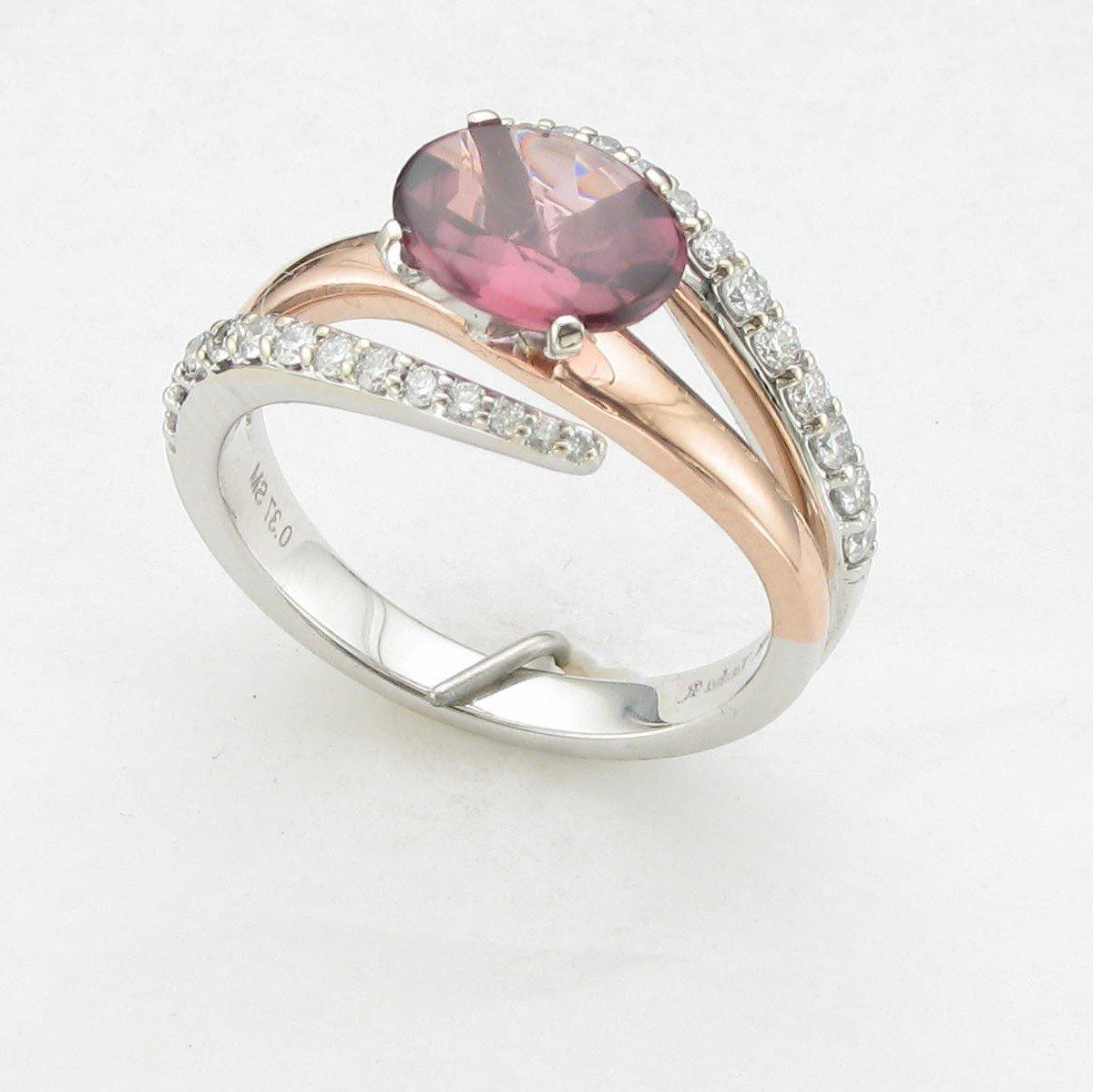 14K Two-Tone Rose and White Gold Diamond Garnet Ring
