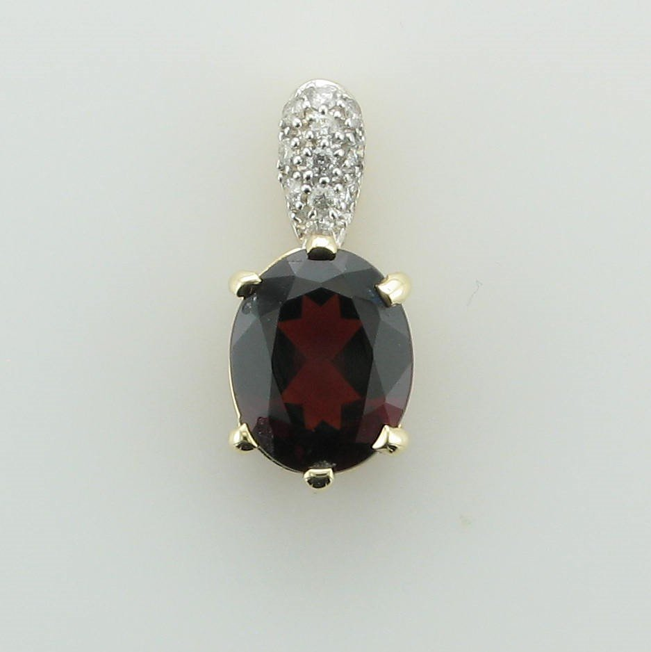 14K Yellow Gold Oval Garnet and Diamond Bail Pendant