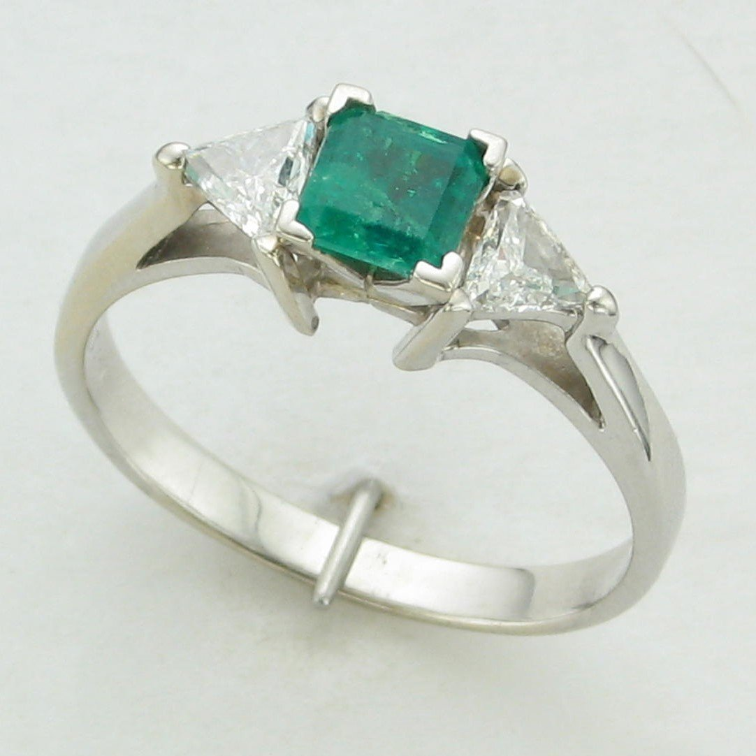 14K White Gold Ascher Emerald and Trillian Diamond Ring