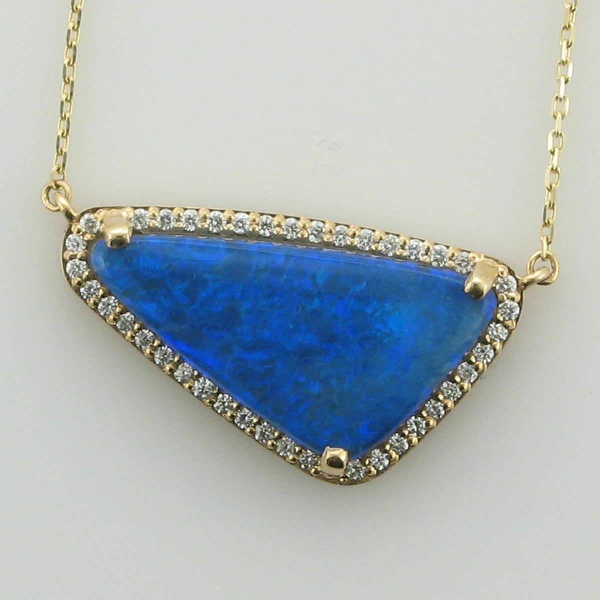 14K Yellow Gold Triangle Blue Opal and Diamond Necklace