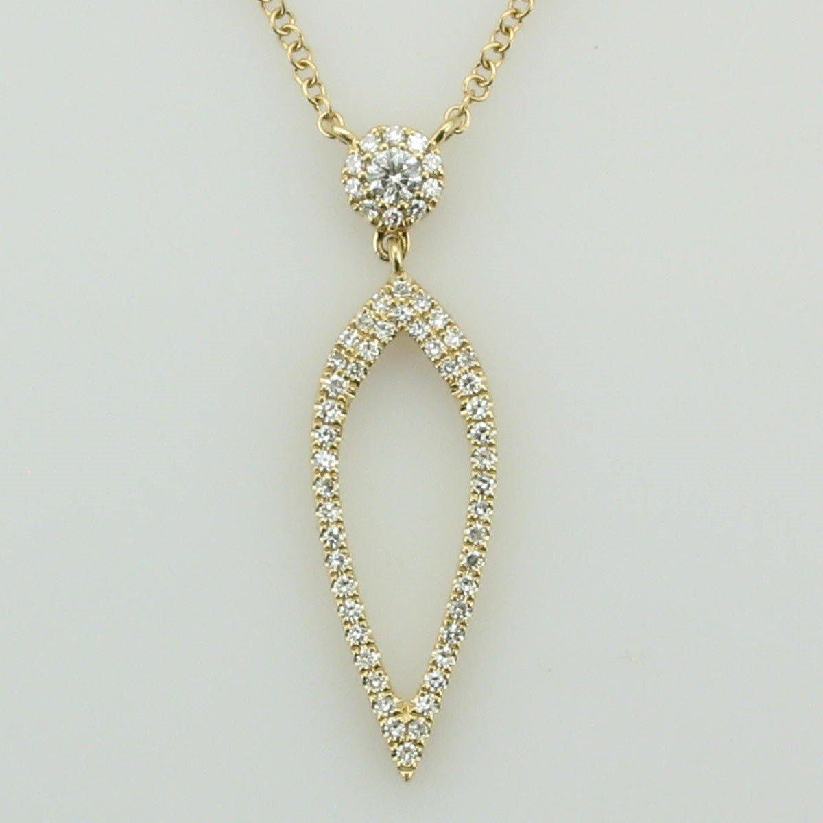 14K Yellow Open Upside Down Teardrop Diamond Necklace