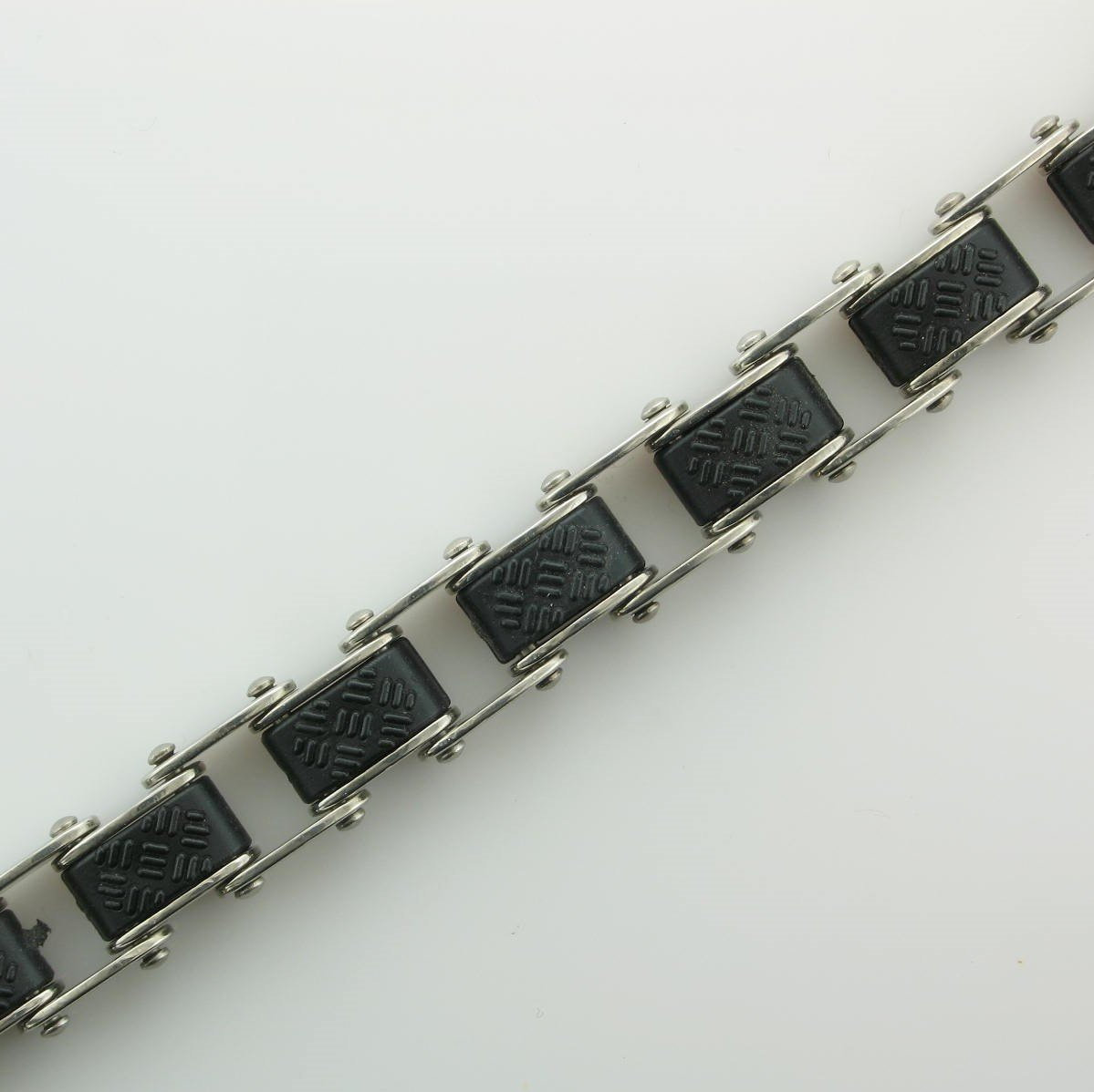 Stainless Steel Black and Silver Gear Bracelet