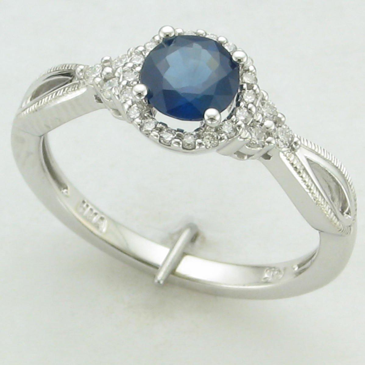 14K White Gold Sapphire and Diamond Twist Ring