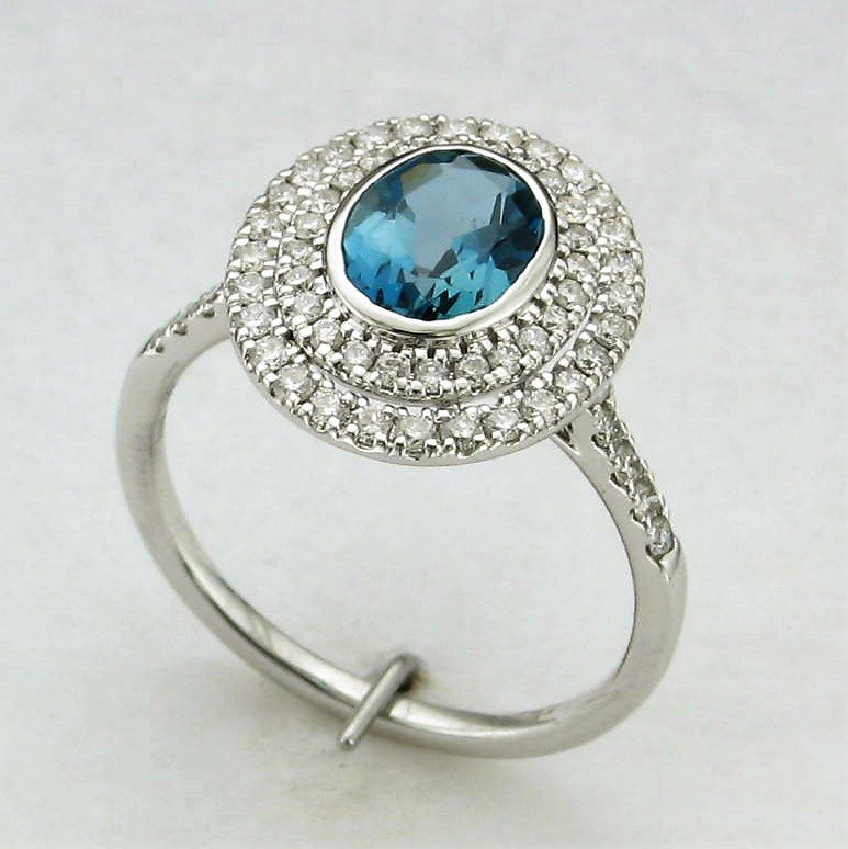 14K White Gold London Blue Topaz and Diamond Halo Ring