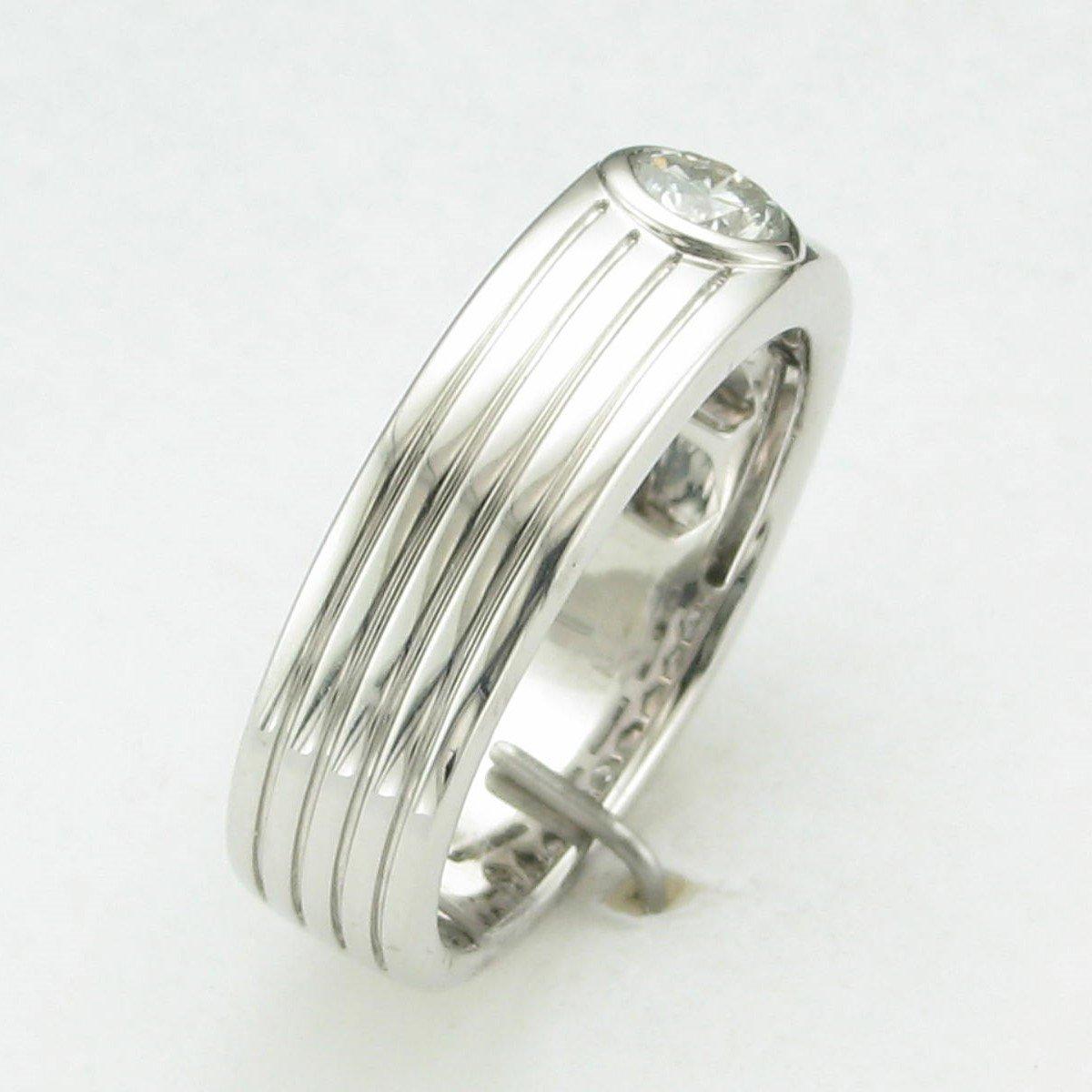 10K White Gold Bezel Set Diamond Grooves Ring