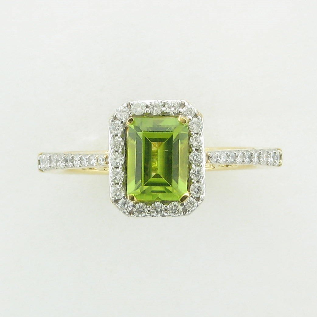14K Yellow Gold Emerald Cut Peridot and Diamond Ring