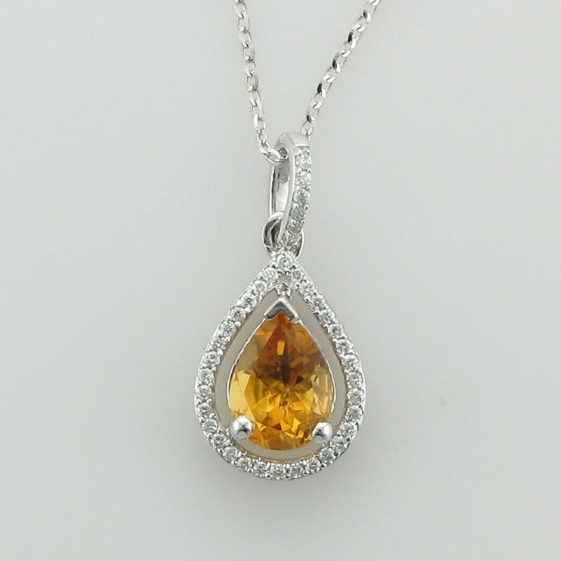 14K White Gold Pear Citrine and Diamond Halo Necklace