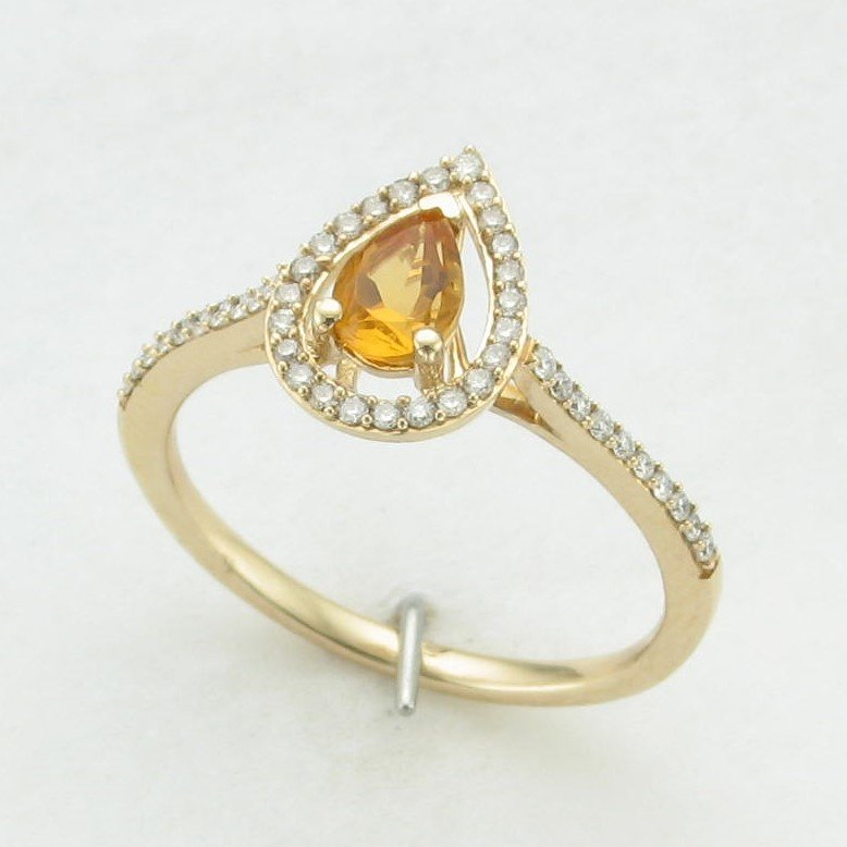 14K Yellow Gold Pear Citrine and Diamond Halo Ring