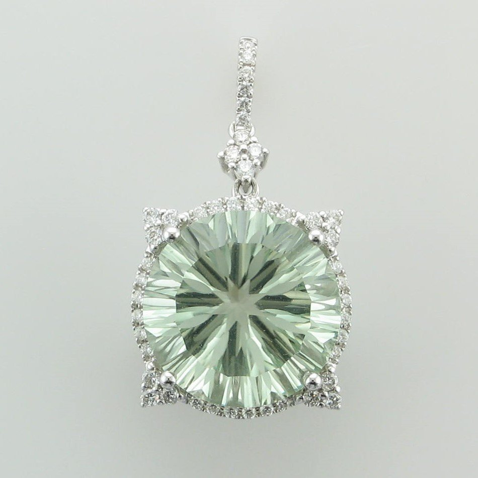 9.33ct  Round Fantasy Cut Prasiolite and Diamond Pendant set in 14K White Gold