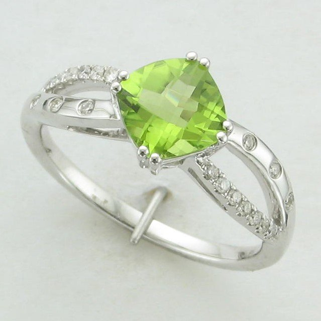 1.40ct Checkerboard Cushion Cut Peridot & Diamond Ring set in 14K White Gold