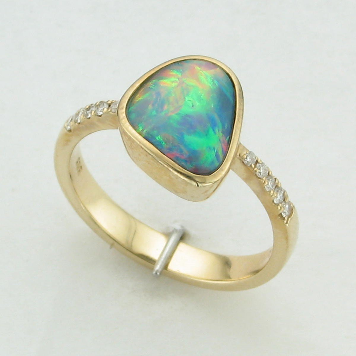 2.30ct Opal Doublet and Diamond Ring set in 14K Yellow Gold