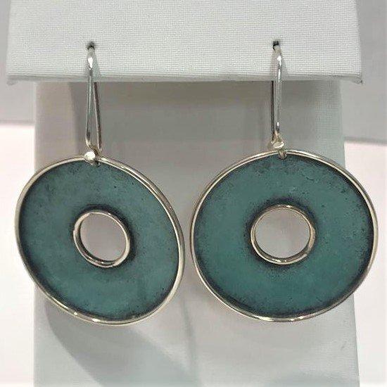 Sterling Silver Copper Circles Dangle Earrings