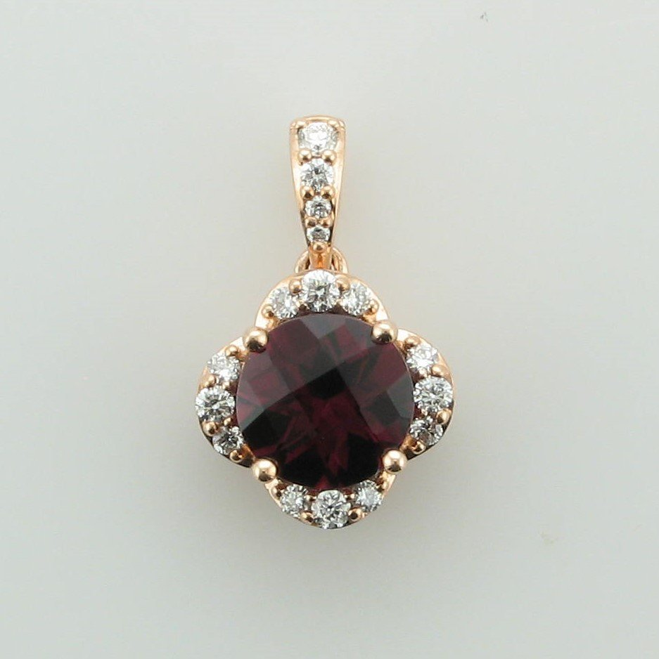 14K Rose Gold Checkerboard Rhodolite Garnet and Diamond Pendant