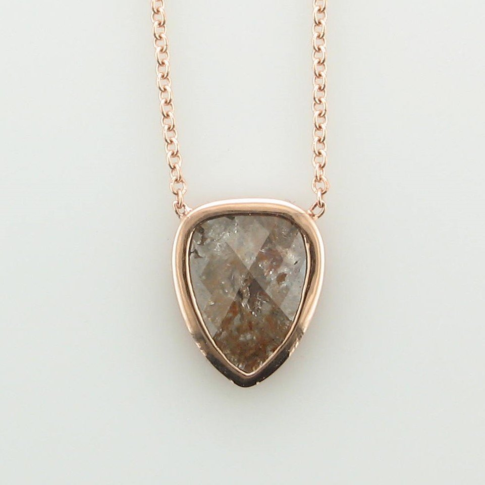 1.50ct Peach Colored Raw Diamond Necklace set in 14K Rose Gold
