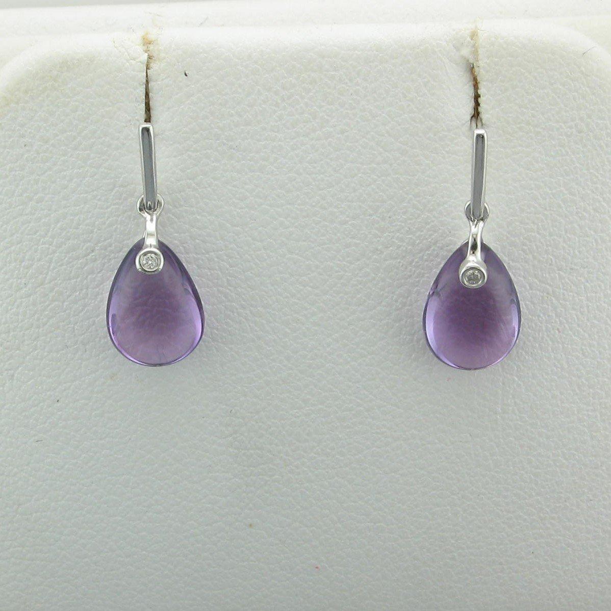 3.26ct Jelly Cut Amethyst Dangle Earrings set in 14K White Gold