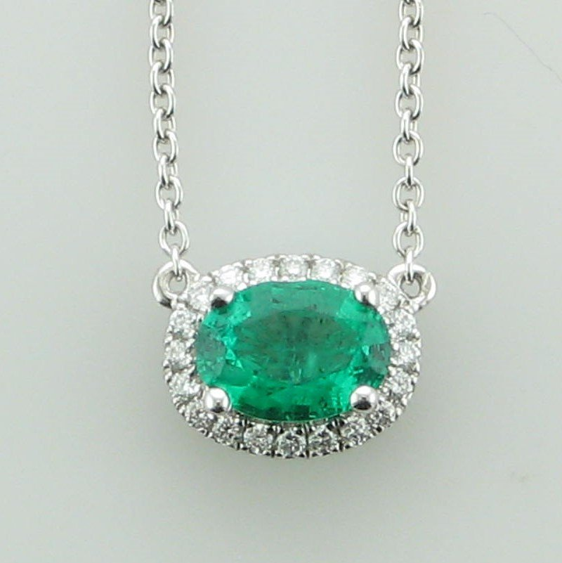 14K White Gold East-West Oval Emerald and Diamond Halo Necklace