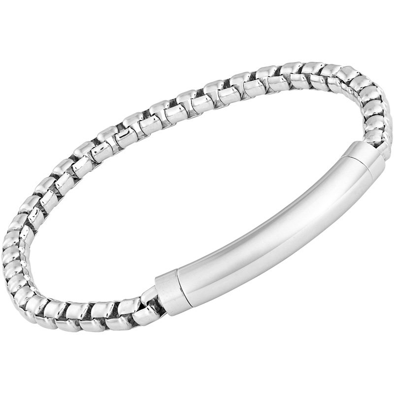 Sterling Silver 5 mm Rounded Box Bracelet with Magnetic Closure 8.5