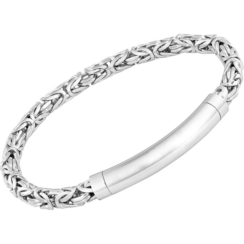 Sterling Silver 5.2 mm Byzantine Bracelet with Magnetic Closure 8.5