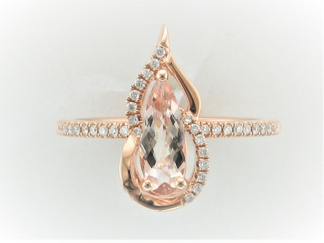 0.93 Carat Morganite &  Diamond Ring Set in 14 Karat Rose Gold