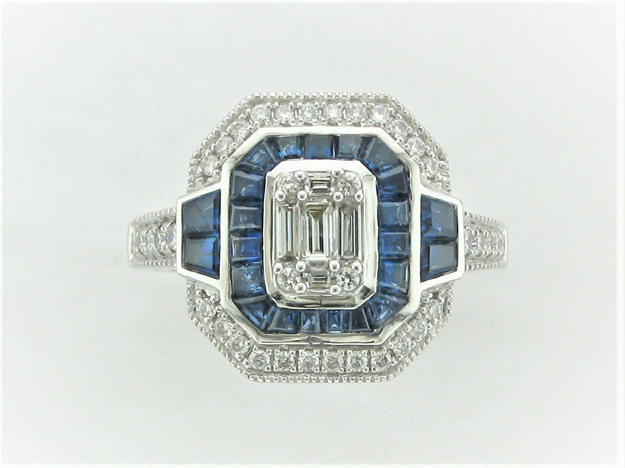 Blue Sapphire and Diamond Ring set in 14 Karat White Gold