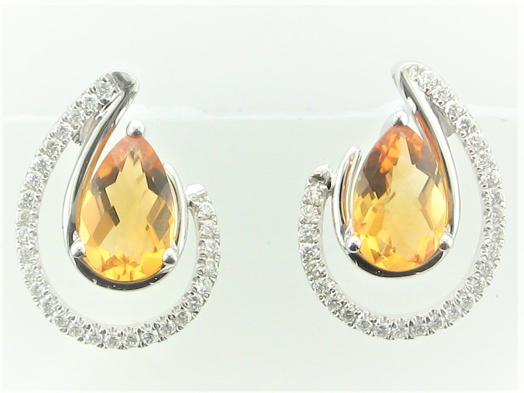 1.45 Total Carat Weight Citrine and Diamond Earrings set in 14 Karat White Gold
