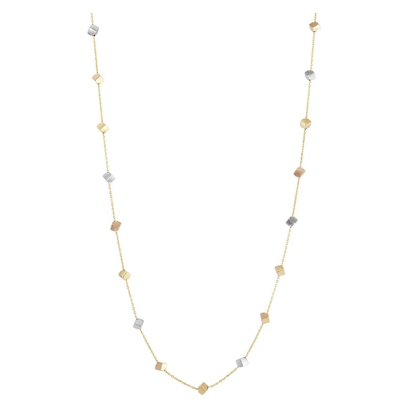 17 Tri Color Cube Necklace in 14 Karat Yellow, Rose & White Gold