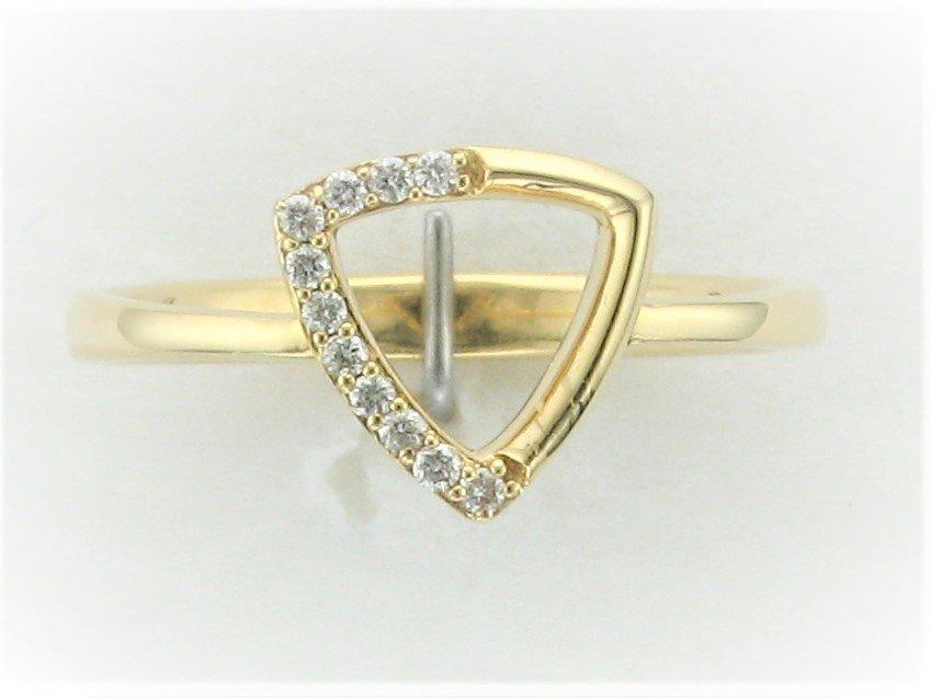 Open Triangle Diamond Ring set in 18 Karat Yellow Gold