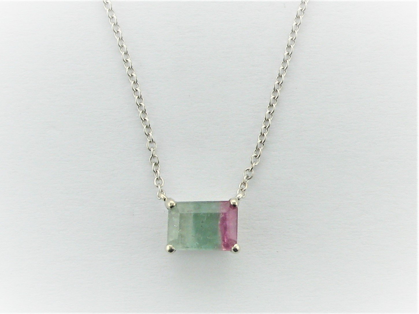 1.18 Total Carat Weight Tri - Colored Tourmaline Stationary Necklace Set in 14 Karat White Gold