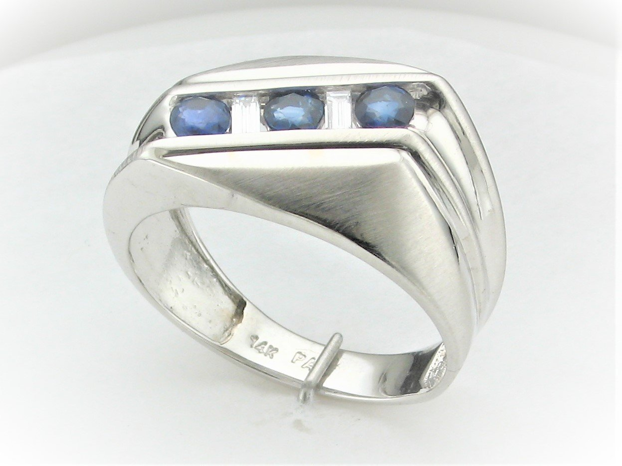 Men's 0.75 Carat Total Sapphire And 0.13 Carat Total Diamond Ring Set in 14 Karat White Gold