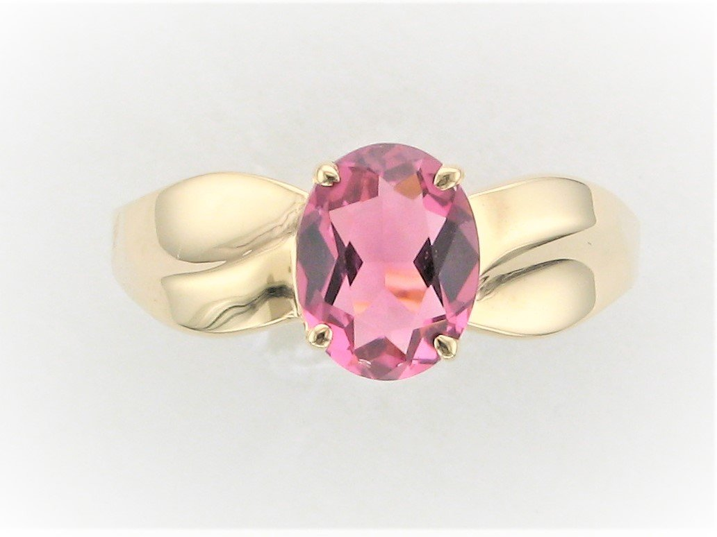 Oval Pink Tourmaline Ring Set in 14 Karat Yellow Gold
