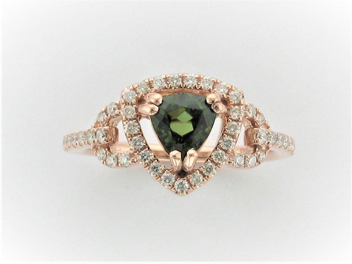 .75 Carat Trillion Cut Green Tourmaline Ring Set in 14 Karat Rose Gold