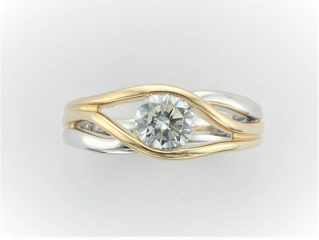 Two-Tone Semi-Mount Ring Set in 14 Karat Yellow and White Gold