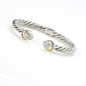 Pave Diamond Cable Bangle in Sterling Silver and 14k Yellow Gold