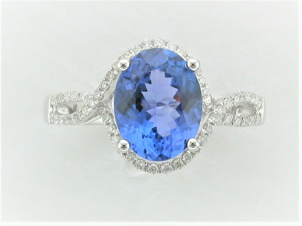 2.45 Carat Tanzanite and Diamond Ring set in 14 Karat White Gold