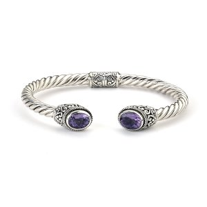 Oval Amethyst Twisted Bangle in Sterling Silver