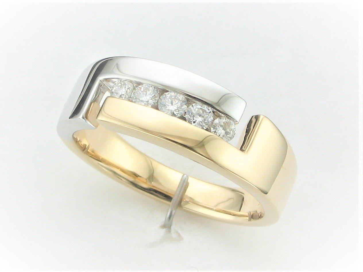 Men's Two Tone 0.33 Total Carat Weight  Diamond Ring in 14 Karat Yellow and White Gold