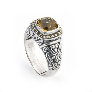 Citrine Swirl Design Ring Set in Sterling Silver and 18 Karat Yellow Gold